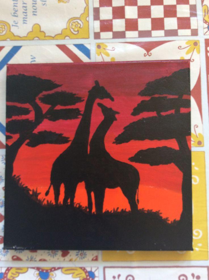 Giraffes zonsondergang Afrika