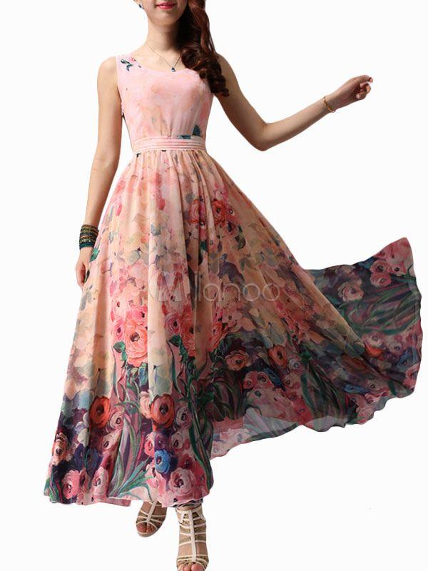 Floral Print Chiffon Scoop Neck Maxi Dress - Milanoo.com