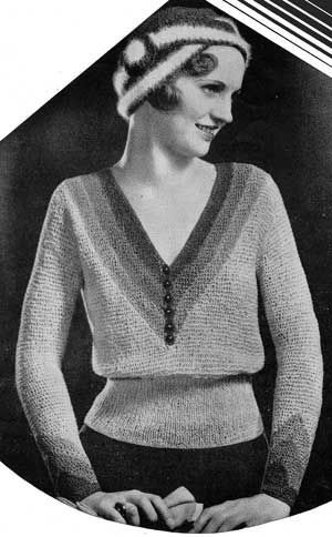 Stunning flapper era knitting pattern - art deco jumper & cloche hat - if only this was in colour!