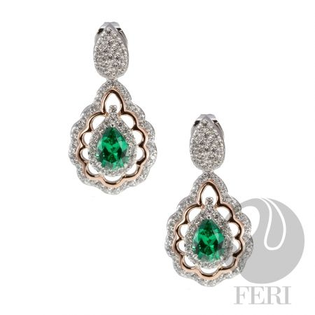 - Exclusive 950 fine sterling silver  - Exclusive dual natural rhodium and palladium plating   - Set with AAA white cubic zirconia and an emerald colour cubic zirconia  - Rose coloured gold plating accent https://www.globalwealthtrade.com/vdm/display_item.php?referral=stephjames&category=66&item=5228&cntylng=&page=2