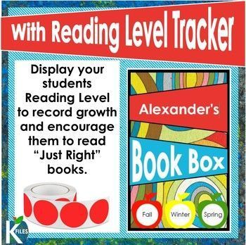 """Student book box labels measure 3x5"""" to cover the entire front panel of the standard-sized book bins! There are 6 different labels to choose from. I have included a Reading level tracker so that you can display your students' Reading Level to record growth and encourage them to read """"Just Right"""" books during Reader's Workshop, and Read to Self during the Daily 5. I use the 3/4"""" circle labels to record their reading level throughout the year. The labels are editable. TheKausFiles.blogspot.com"""