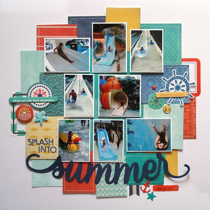 Basic Grey Adrift Summer layout by Lisa Dickinson.