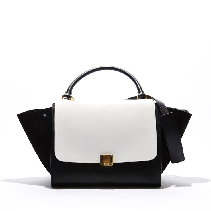 Celine Trapeze Black \u0026amp; White Bag With Long Strap available at ...