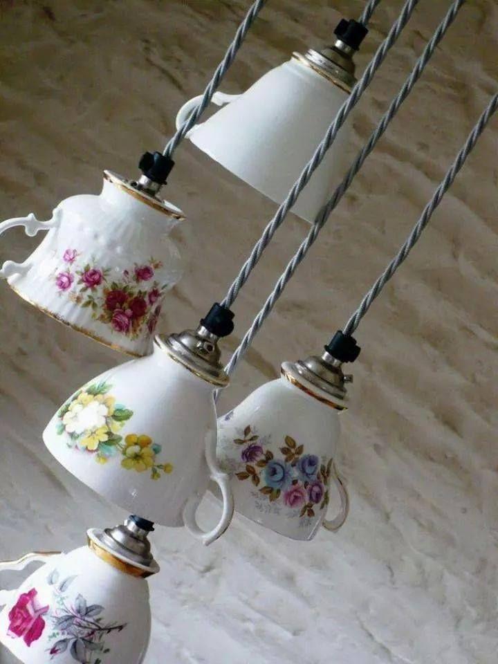 DIY teacup hanging lights