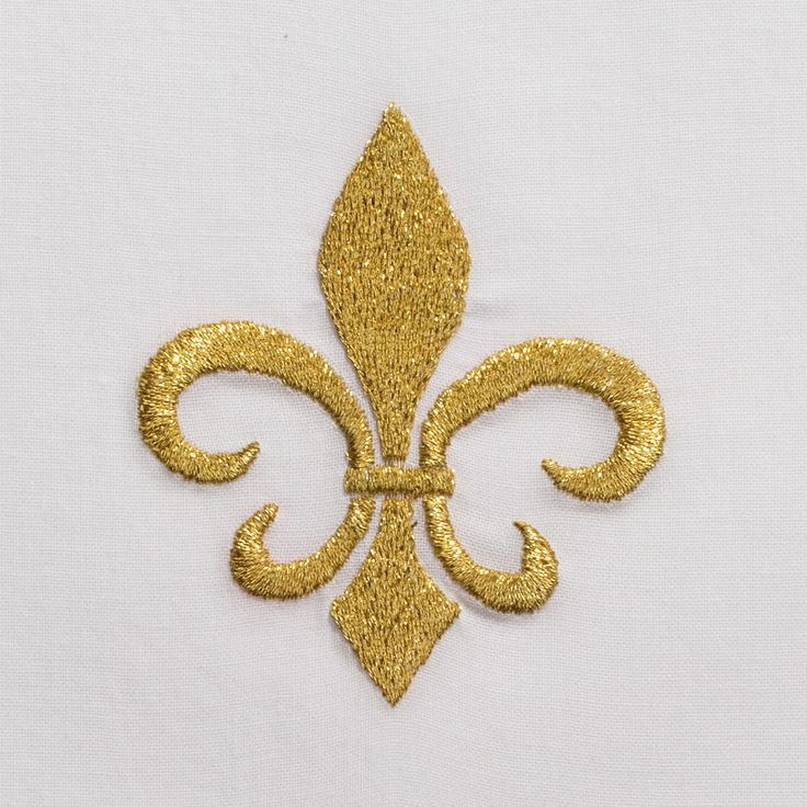 Fleur de Lys Gold<br>Hand Towel - White Cotton