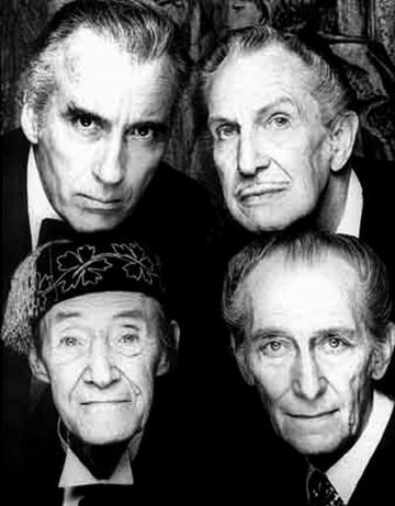 Royalty of classic horror. Christopher Lee, Vincent Price, John Carradine and Peter Cushing.  Masters of Horror!
