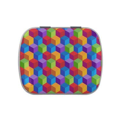 Rainbow Colorful Block Cube Pattern Jelly Belly Tins - pattern sample design template diy cyo customize