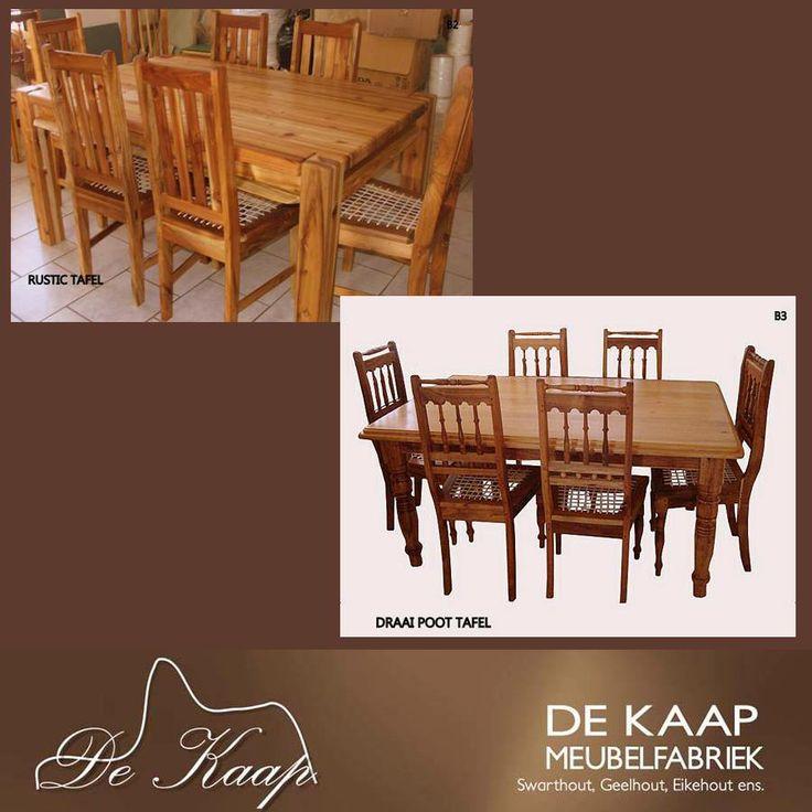 #Special for our FB friends: 6 Seater Blackwood Table 1.6m x 1m (turned leg of rustic) plus 6 Miles Blackwood Chairs (conveyer belt or solid seat) @ R7500.00 VAT incl. Delivery cost excl. #furniture #solidwood  Spesiale aanbod vir ons FB vriende: 6 Sitplek Swarthout Tafel 1.6m x 1m (draaipoot of rustic) plus 6 Miles Swarthout stoele (riempie of soliede sitplek) @ R7500.00 BTW ingesl. Afleweringskoste uitgesluit.
