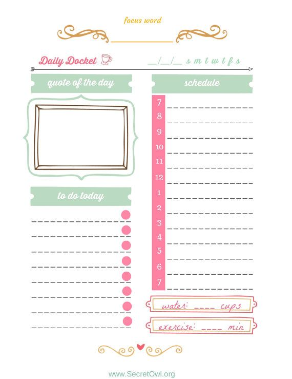 Daily Docket Printable by SecretOwlSociety on Etsy