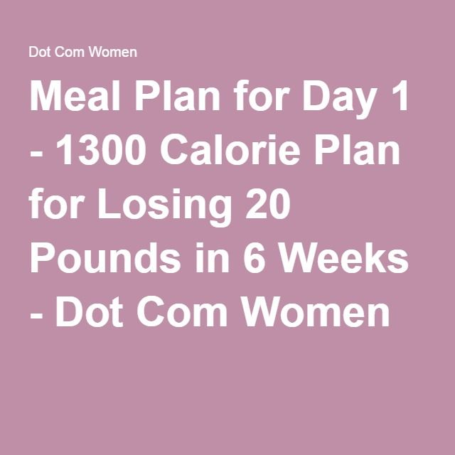 Meal Plan for Day 1 - 1300 Calorie Plan for Losing 20 Pounds in 6 Weeks - Dot Com Women