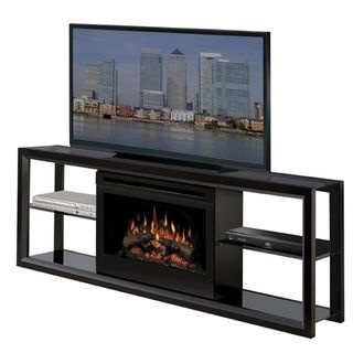 A typical media console includes storage for media components (receiver, DVD/Blu-Ray player, speakers), space on top for a wide screen TV, and of course, a built-in electric fireplace. This is the ultra-sleek Novara from Dimplex.