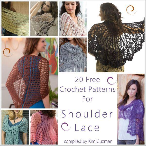 *20* Free Crochet Patterns for Shawls Wraps Shoulder Lace | Link Blast: Shoulder Lace | WIPs 'N Chains ✿⊱╮Teresa Restegui http://www.pinterest.com/teretegui/✿⊱╮