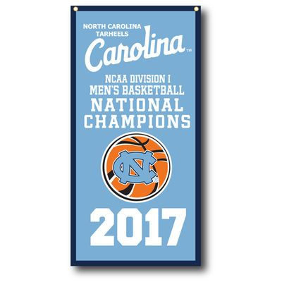 "North Carolina Tar Heels 2017 NCAA Men's Basketball National Champions 18"" x 36"" Vertical Banner"