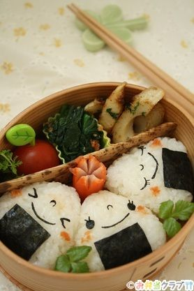 Kawaii Face, Japanese Onigiri Bento Lunch (Rice Ball, Salmon Flakes, Nori )