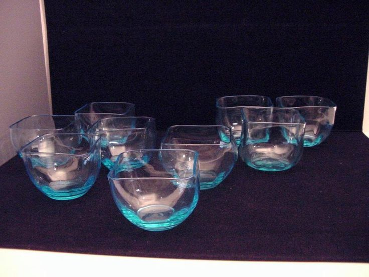 9 antique blue glass finger bowls