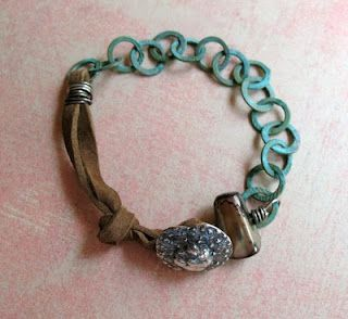 Button, chain and leather bracelet tutorial from MissFickleMedia
