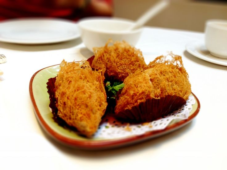 Taro Root Puff at Kirin Restaurant, #Vancouver. Perfectly done! http://foodietours.ca/photo-guide-dim-sum-kirin-restaurant/