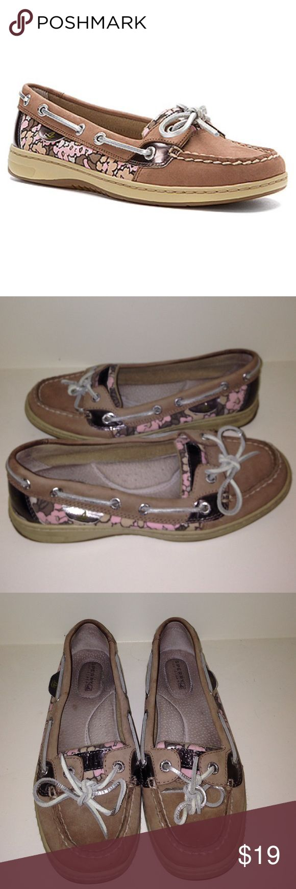 Sperry angelfish griege/pink floral Women's size 6.5 sperrys in good condition. Have silver accents and cute floral designs! Extremely comfy and classy. Open to offers! Sperry Top-Sider Shoes Flats & Loafers