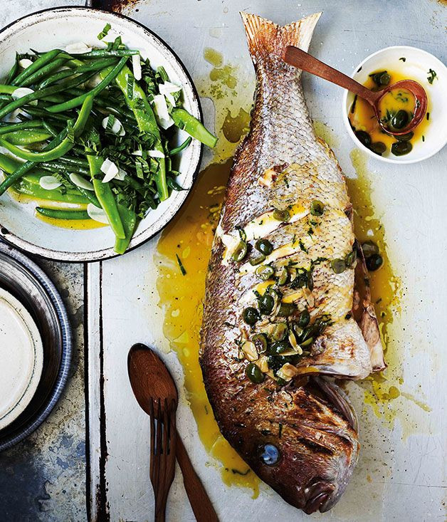 Snapper+with+white+wine,+green+olives+and+parsley+(dentice+alla+vernaccia)