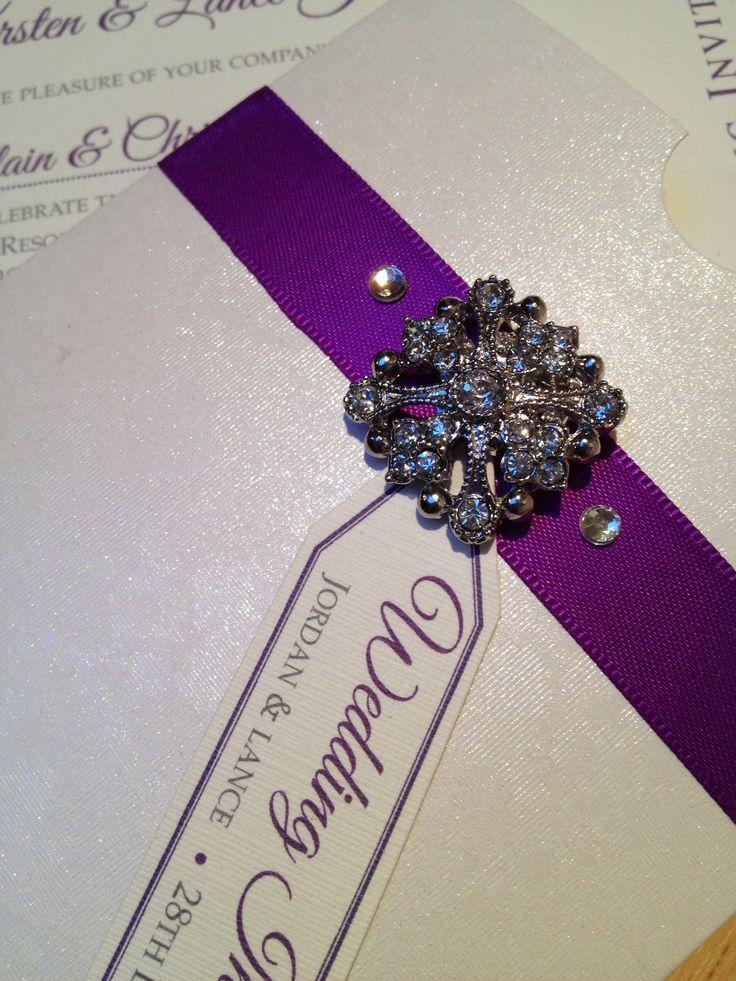 11 best Vintage bespoke handmade purple wedding invitation for ...