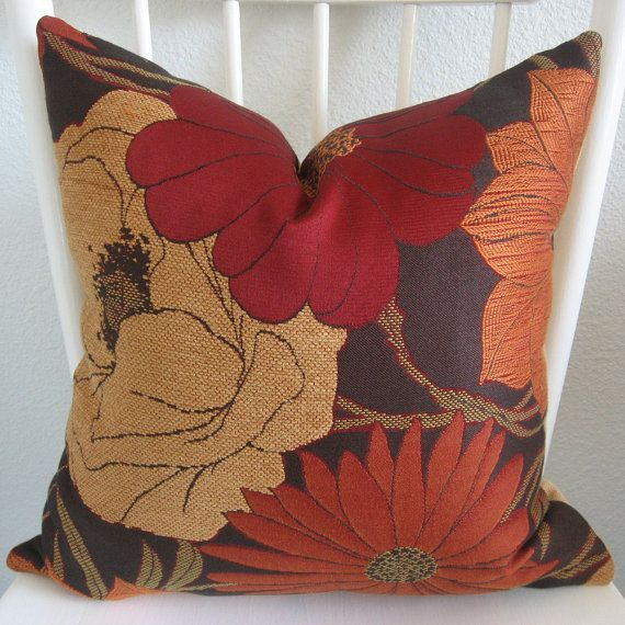 Red And Orange Decorative Pillows : Reserved 18x18 pillow cover floral red orange brown - floral pillow cover - autumn colors ...