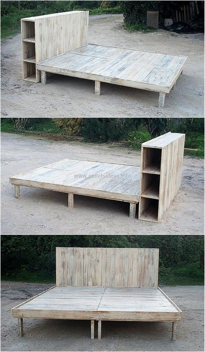 Diy pallet bedroom furniture woodpalletbedframe  pallets reborn in   pinterest  wood