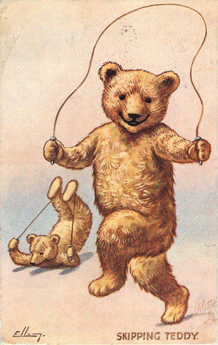 Днем, винтажные открытки мишка