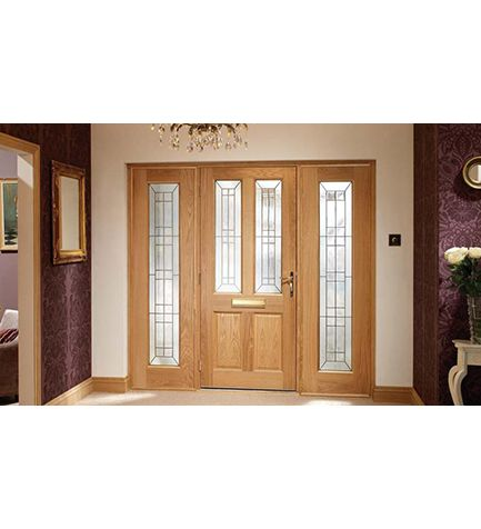 Oak Malton Grand Entrance Door with Matching Sidelights and frame - A classic twin light design Triple Glazed with elegant black cammings. Buy from Emerald ...