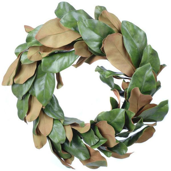 Artificial Magnolia Leaf Wreath - Modern - Wreaths And Garlands - by... ❤ liked on Polyvore featuring home, home decor, holiday decorations, leaf wreath, magnolia leaf wreath, artificial wreaths, modern home accessories and magnolia home decor