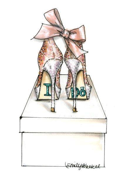 Fashion Illustration print I Do Shoes  Pink Nude by EmilyBrickel, $20.00