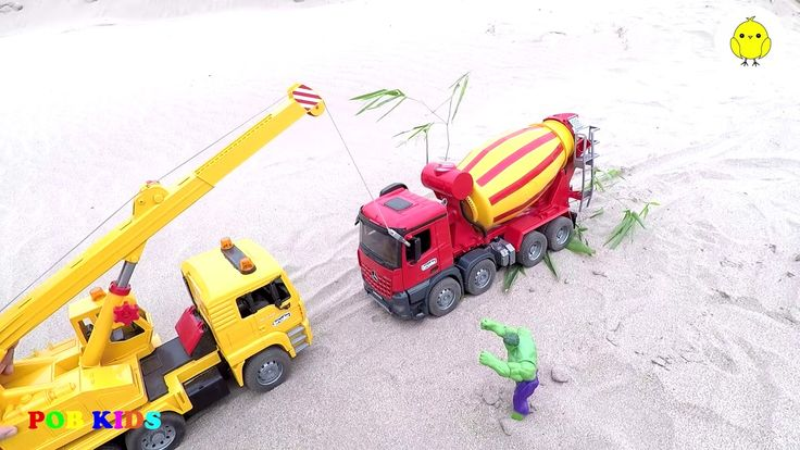 Dump truck and excavator for children, construction truck video, POB KIDS