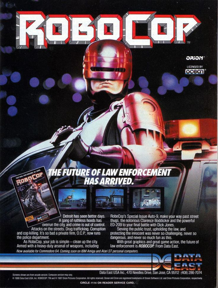 [1988] Robocop (Data East / Ocean) | RoboCop was licenced by UK-based Ocean Software at the script stage, so (fairly uniquely for the time) the 1988 run & gun and beat 'em up hybrid arcade game developed and published by Data East and Nihon Bussan,was licensed from a computer game company rather than the other way around. This is why the arcade game bears a licence credit for Ocean. [wiki: https://en.wikipedia.org/wiki/List_of_RoboCop_video_games]