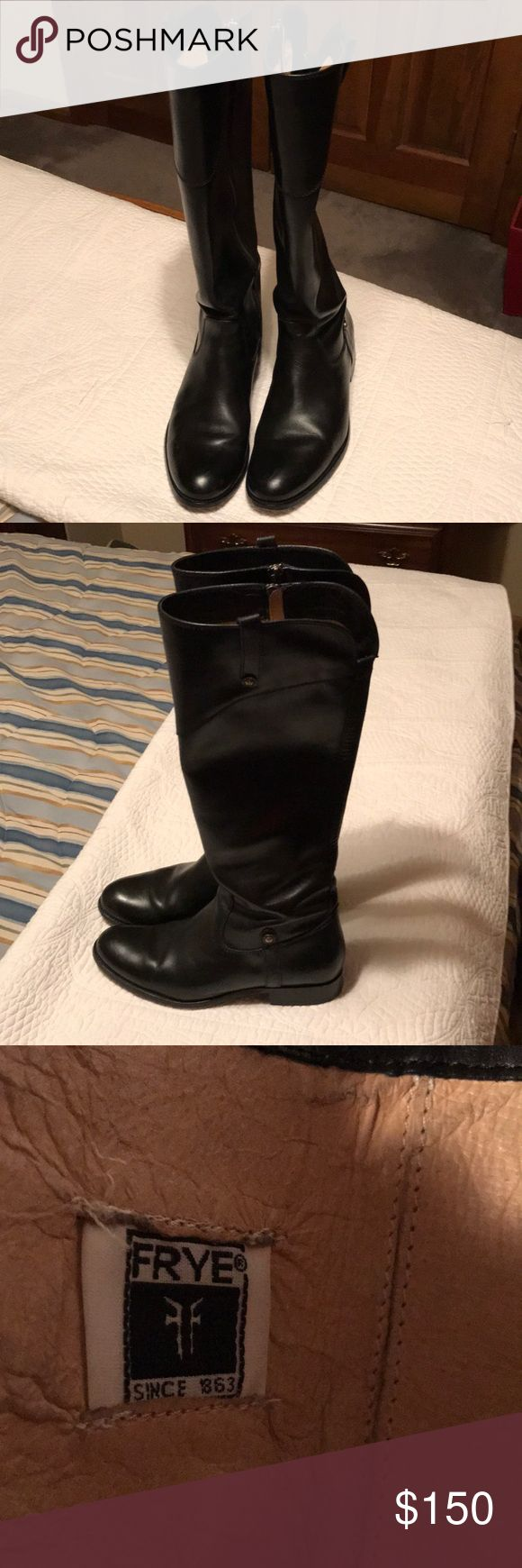 Frye black boots 9 1/2 for skinny calves used Bought new only wore a couple of times look like brand new for skinny calves Frye Shoes Heeled Boots