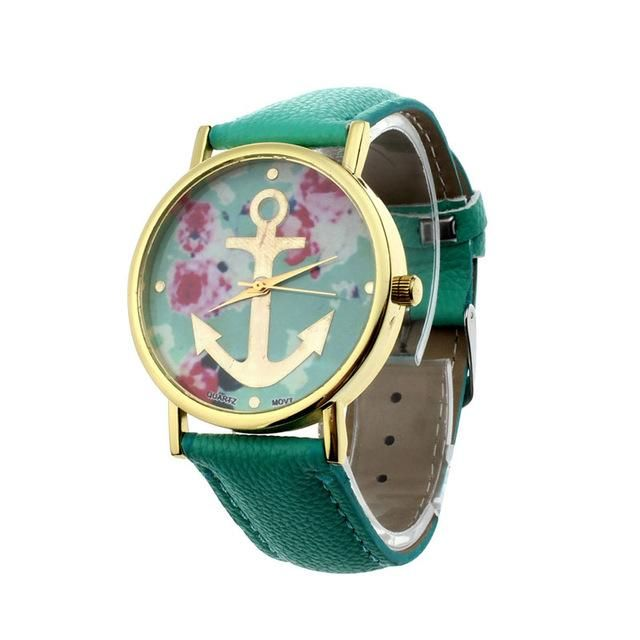 Floral Anchor Watch - Green