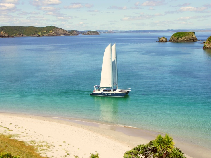 Luxury boat cruise through the Bay of Islands, New Zealand.