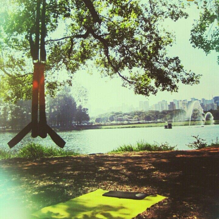 No parque Ibirapuera, treinamento funcional com fita de suspensão, TRX. Conheça nossos grupos no Parque Ibirapuera. Whts 94215-4979