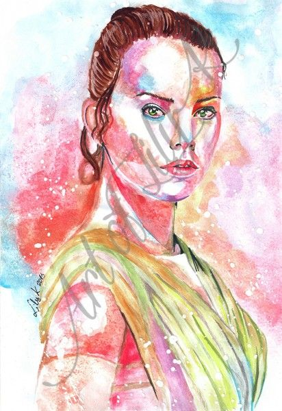 Rey from Star Wars The Force Awakens, Watercolour