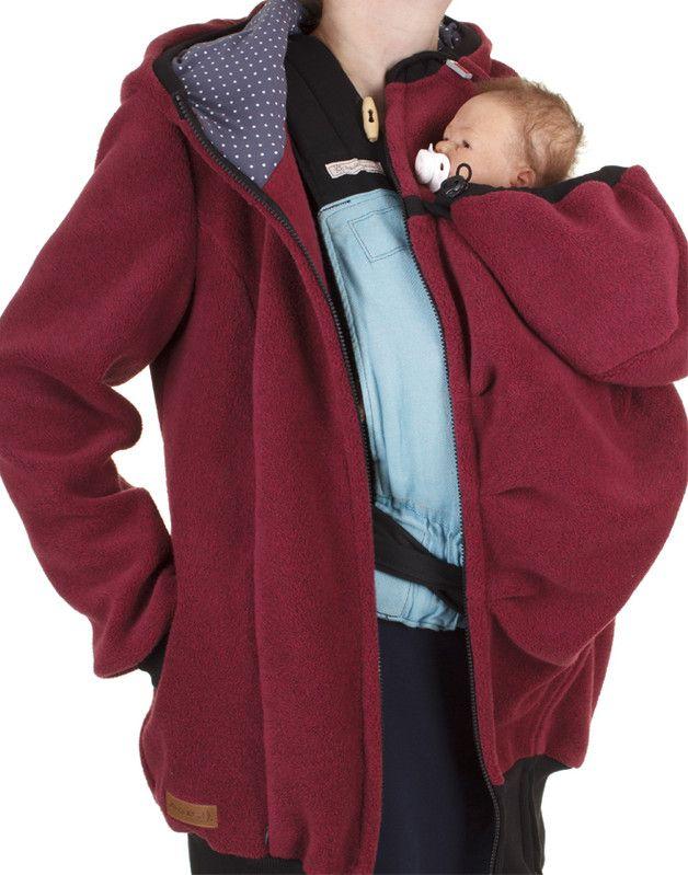 Oberteile & Kleider - Lumi warme Winter Fleece Tragejacke in bordeaux - ein Designerstück von Milchshake-by-AgnesH- bei DaWanda