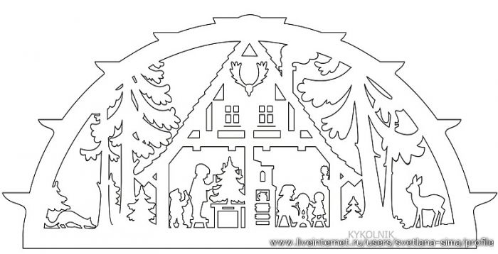 Christmas Scene paper cut template.
