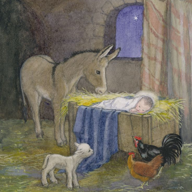 Baby Jesus And Animals In Manger Nativity Christmas In