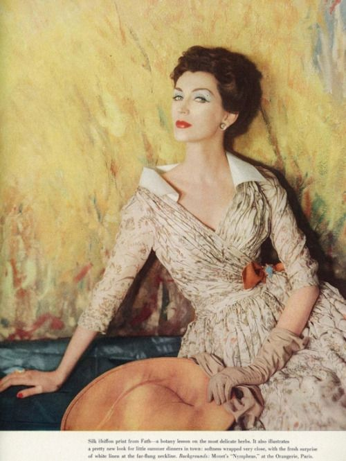 Dovima, Jacques Fath, 1950s, Vogue