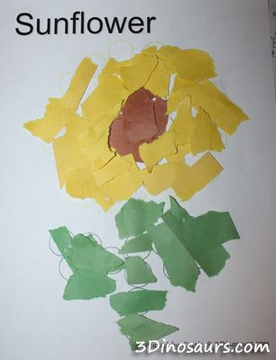 Torn Paper Sunflowers from 3 Dinosaurs | Science | Paper ...