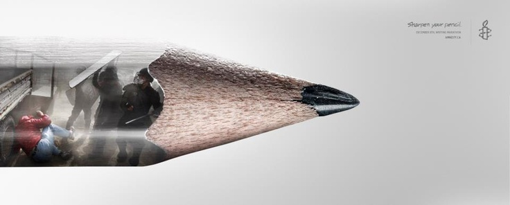 """Beau visuel pour Amnesty International par l'agence Cossette """"Sharpen your pencil."""""""