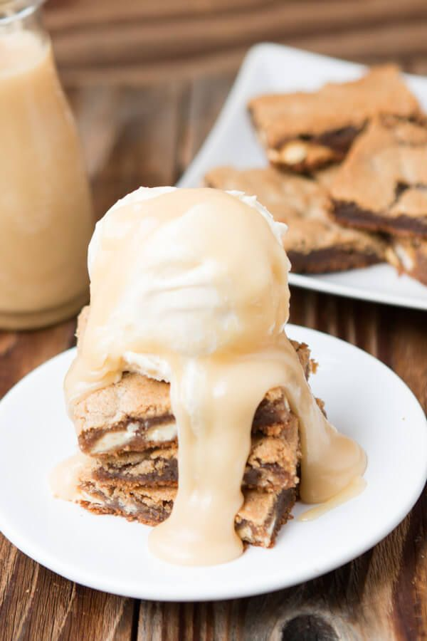 The brownie of the year! Maple pecan blondies with white chocolate butter sauce! The pecans are made into pecan butter that makes these amazing ohsweetbasil.com