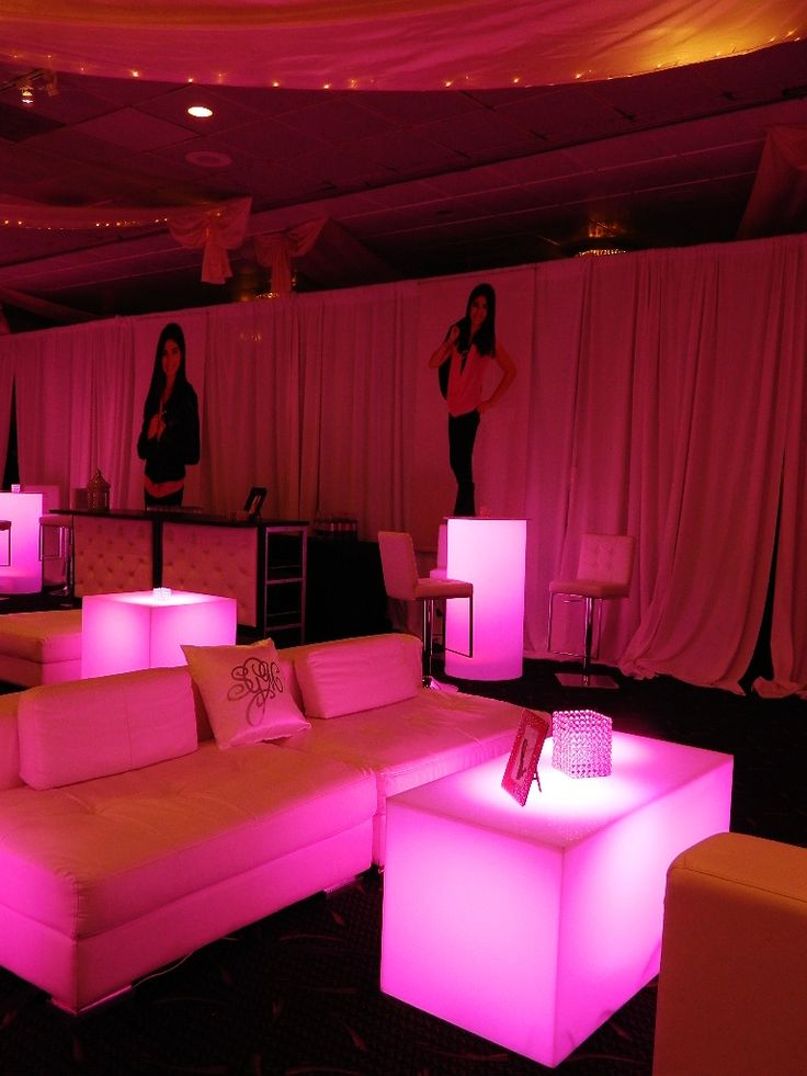 """No """"lounge/club"""" is complete without a """"bar"""" right in the middle. Incredible pink and white lounge set up for the Mitzvah girl and her VIP's."""