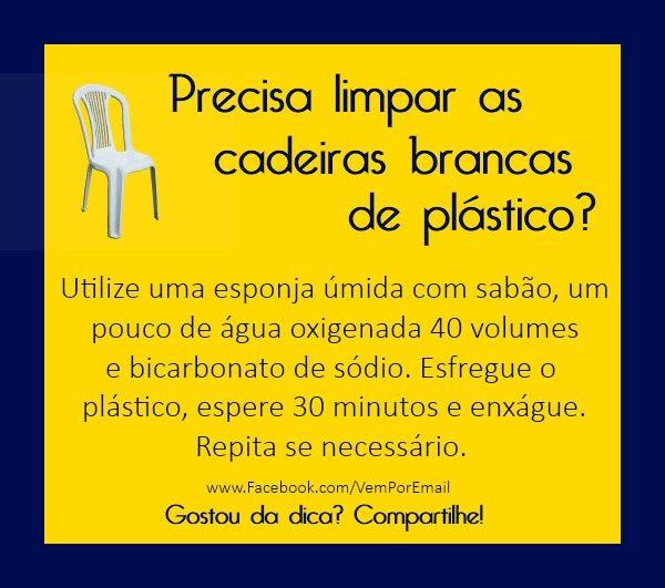 Limpeza de cadeiras plasticas