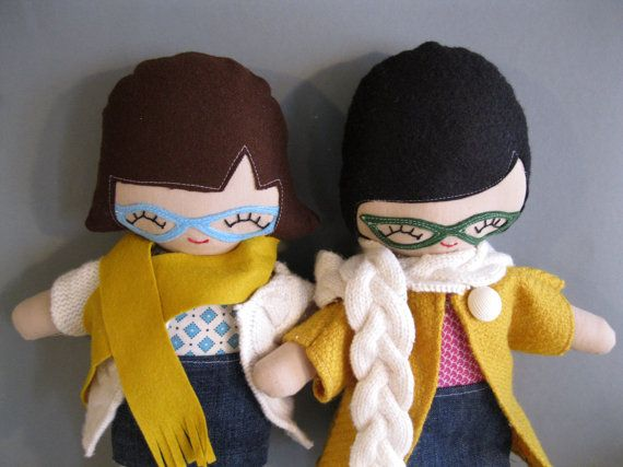 So perfect. Hipster Girl Cloth Doll Plushie with Tattoo and Glasses. The tattoo part is really hilarious.