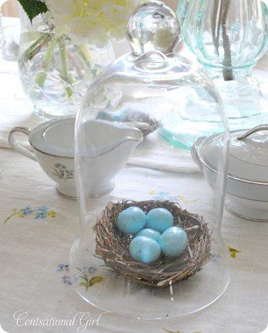 Springtime bird eggs table ideas