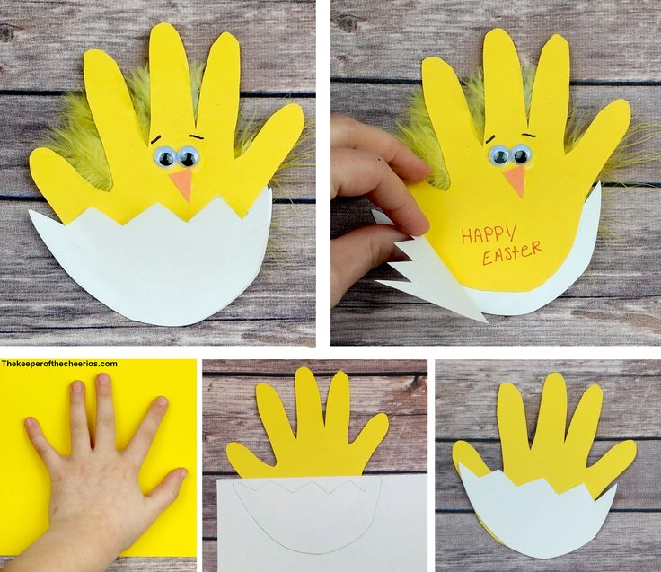Easter chick handprint card Materials: Yellow and White construction paper or card stock Scissors Wiggle eyes Orange construction paper Glue stick and craft glue Yellow feathers Black pen or maker Directions: Trace your child's hand with pen onto your yel