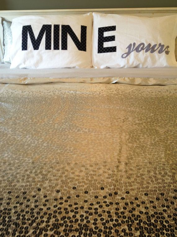 His and Hers Pillow case pair MINE yours pillowcases